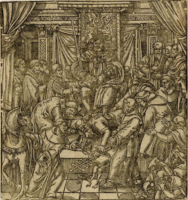 Henry VIII as Supreme Head of the English church, from Foxe's Book of Martyrs © The Trustees of the British Museum 1973 U 219